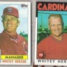 WHITEY HERZOG 1984 Topps + 1986 Topps. CARDS