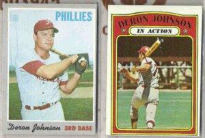 DERON JOHNSON 1970 + 1972 Topps.  PHILLIES