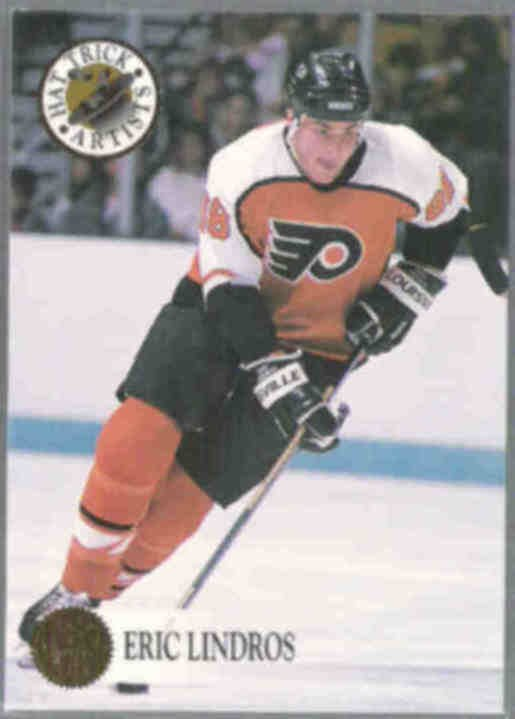 ERIC LINDROS 1993 Leaf Hat Trick Ins #7 of 10.  FLYERS