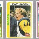 PAT HADEN (3) Card Topps Lot - 1978 - 1980.  RAMS