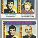 PHIL ESPOSITO (2) 1974 Topps w/ Goldsworthy + Clarke