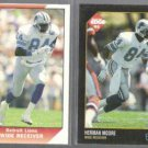 HERMAN MOORE 1991 Pacific #580 + 1992 Edge #49.  LIONS
