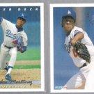 PEDRO MARTINEZ 1993 Upper Deck #324 + 1994 Fleer #515.  DODGERS
