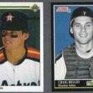 CRAIG BIGGIO 1990 Upper Deck #104 + 1991 Score Franchise #872.  ASTROS