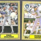 PAUL MOLITOR #741 + ROBIN YOUNT #773 1987 Topps.  BREWERS