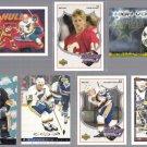 BRETT HULL (7) Card Lot (1991, 1993 + 2000) w/ Inserts.  BLUES / STARS