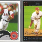 DAVID ECKSTEIN 2003 Topps Bazooka #194 + 2007 Topps #491.  ANGELS / CARDS