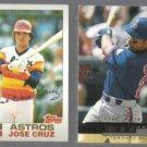 JOSE CRUZ 1982 Topps #325 + CRUZ Jr. 2000 UD Gold Reserve Ins.  HOUS / JAYS