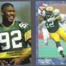 REGGIE WHITE 1993 Wild Card #132 + 1993 Edge #267.  PACKERS