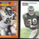 JEROME BROWN 1989 Score #312 + 1991 Pro Set #392.  EAGLES