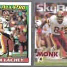 JIM LACHEY 1991 Topps #194 + ART MONK 1993 Skybox #339.  REDSKINS