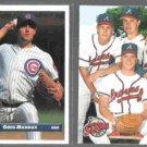 GREG MADDUX 1993 Donruss #608 + 1993 Upper Deck #472.  CUBS / BRAVES