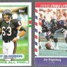 JAY HILGENBERG 1989 Topps #59 + 1990 Asher #63.  BEARS