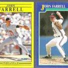 JOHN FARRELL 1991 Fleer #366 + 1991 Score #50. INDIANS