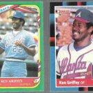 KEN GRIFFEY 1987 Fleer Star Sticker #49 + 1988 Donruss #202. BRAVES