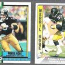 MERRIL HOGE 1990 Topps #185 + 1991 Pacific #425. STEELERS