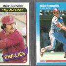 MIKE SCHMIDT 1980 Topps #270 + 1987 Fleer #187.  PHILLIES