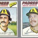 ROLLIE FINGERS #523 + GENE TENACE #303 1977 Topps.  PADRES