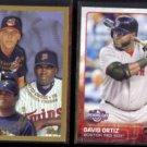 DAVID ORTIZ 1998 Topps Prospects #257 + 2015 Topps Opening Day #17.  MINN / BOS