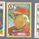 WHITEY HERZOG (3) Card Topps Lot (1987 + 1988).  CARDS