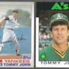 TOMMY JOHN 1982 Topps #75 + 1986 Topps #240.  NYY / A's