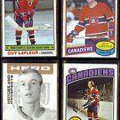 GUY LAFLEUR 1976, 1977 + 1980 Topps + 2006 In The Game.  CANADIENS