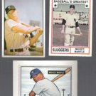 MICKEY MANTLE 1982 TCMA Greatest mid Grade + (2) diff 1989 Bowman.  YANKEES