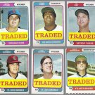 1974 Topps Traded (6) Card Lot w/ Agee, Stone, Ray +++ Mid Grade+