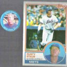 RUSTY STAUB 1983 Topps #740 + 1984 Fun Foods Pin #84 of 133.  METS