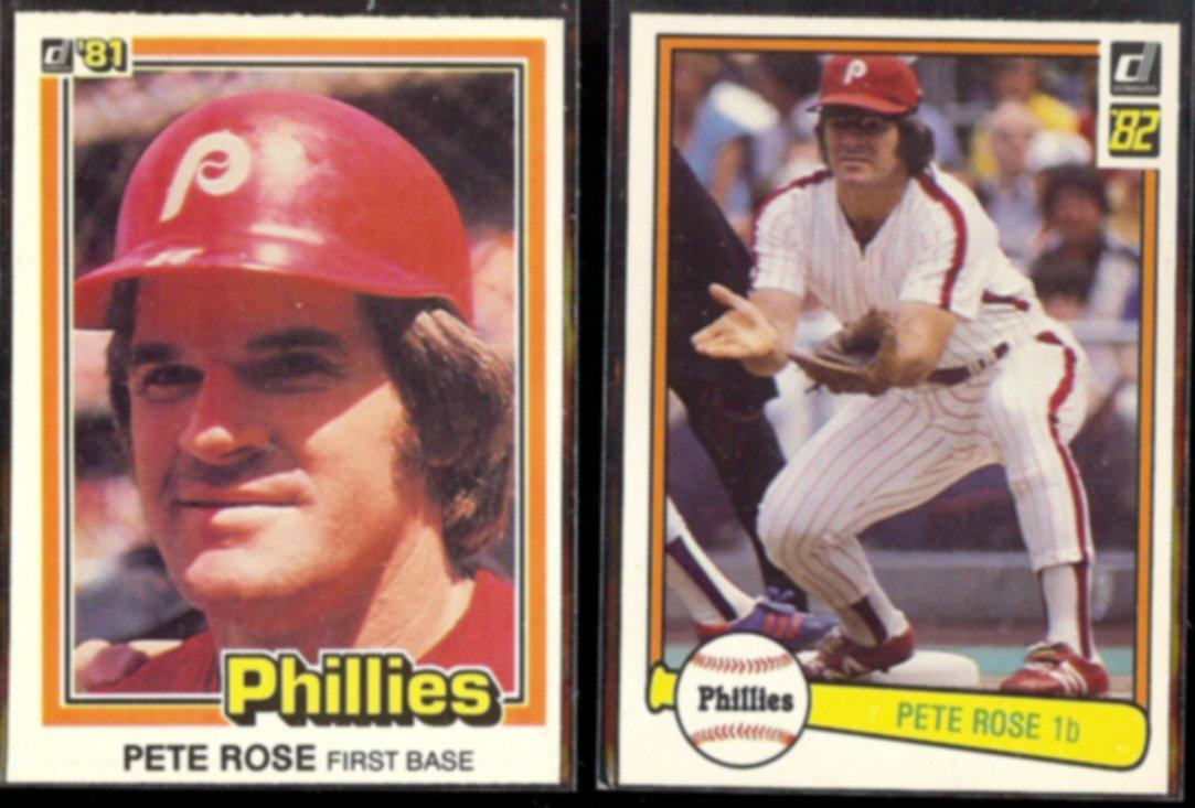 PETE ROSE 1981 #371 + 1982 Donruss #168.  PHILLIES