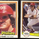 PETE ROSE 1981 #371 + 1982 Donruss #168.  PHILLIES