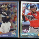 MARCELL OZUNA 2013 Topps Chrome Refractor RC #'d Insert 117/199 + 2015 Topps.  MARLINS