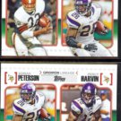 ADRIAN PETERSON (2) 2010 Topps Gridiron Lineage Inserts w/ Jim Brown + Harvin.  VIKINGS