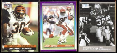ICKEY WOODS (3) Card Lot (1990, 91 + 2013)  BENGALS / UNLV