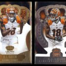 A. J. GREEN 2013 Panini Crown Royale Gold + 2014 Silver.  BENGALS