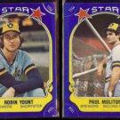 ROBIN YOUNT #38 + PAUL MOLITOR #82 - 1981 Fleer Star Stickers.  BREWERS