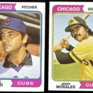 CUBS (2) Card 1974 Topps Lot w/ JACK AKER + JERRY MORALES.