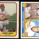 JOHNNY BENCH 1981 Fleer #196 + 1983 Topps #61.  REDS