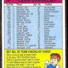 BUFFALO BILLS 1974 Topps Team Checklist N#OB.  OJ SIMPSON
