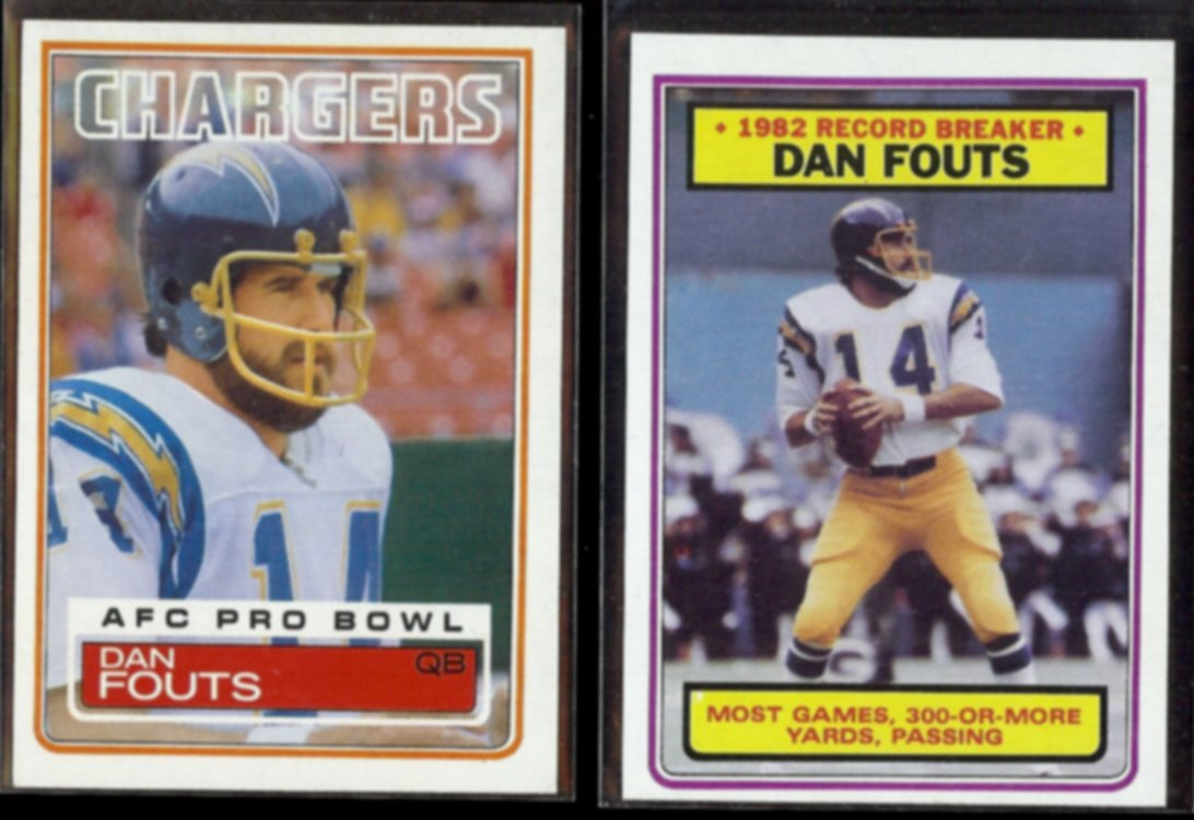 DAN FOUTS 1983 Topps #374 + Record Breaker #3.  CHARGERS