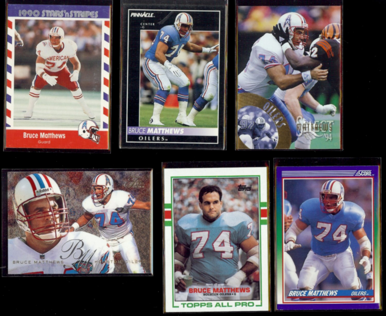 BRUCE MATTHEWS (6) Card Lot (1989 - 1995).  OILERS