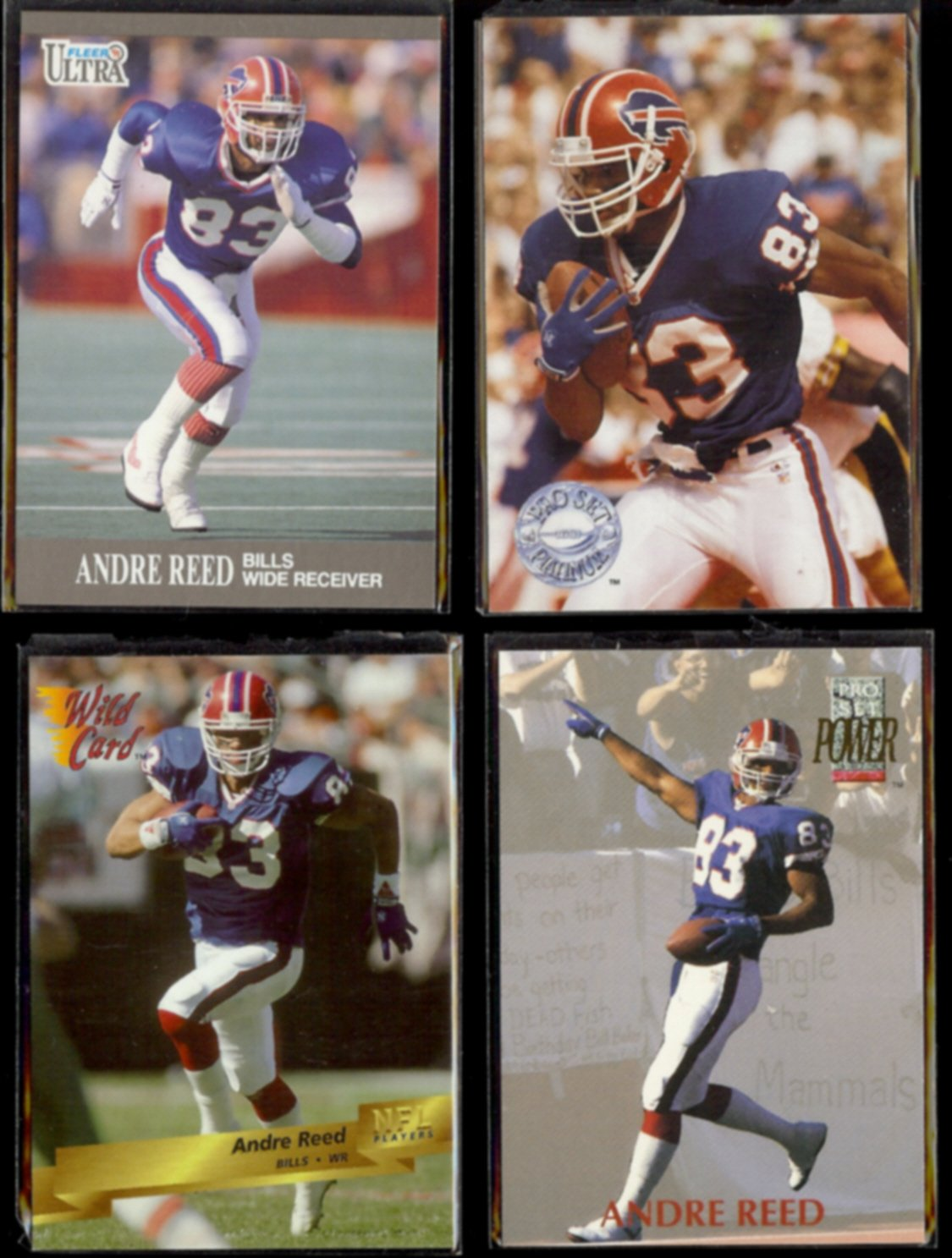 ANDRE REED (4) Card Lot (1991 - 1993).  BILLS