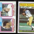 KELLEN WINSLOW 1982 Topps #258 w/ Dwight Clark + 1981 Topps #524.  CHARGERS