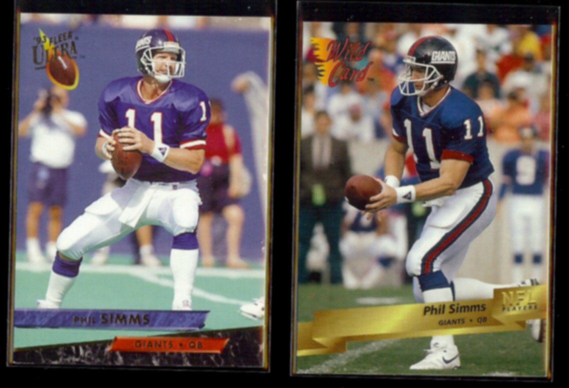 PHIL SIMMS 1993 Ultra #330 + 1993 Wild Card #110.  GIANTS