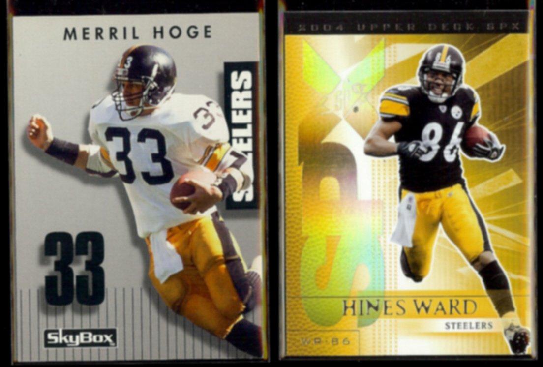 MERRIL HOGE 1992 PrimeTime #005 + HINES WARD 2004 UD SPX #76.  STEELERS