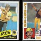 DALE BERRA 1985 Topps #305 + 1984 Topps #18.  PIRATES