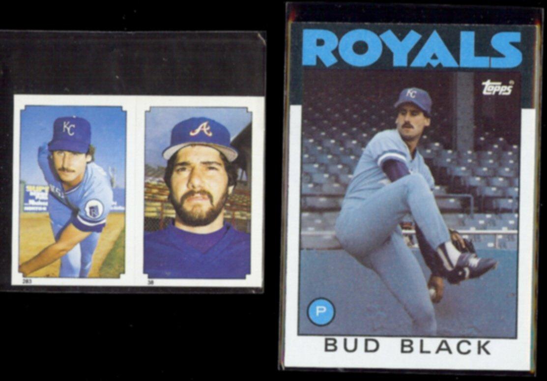 BUD BLACK 1984 Topps mini Sticker #263 + 1986 Topps #697.  ROYALS