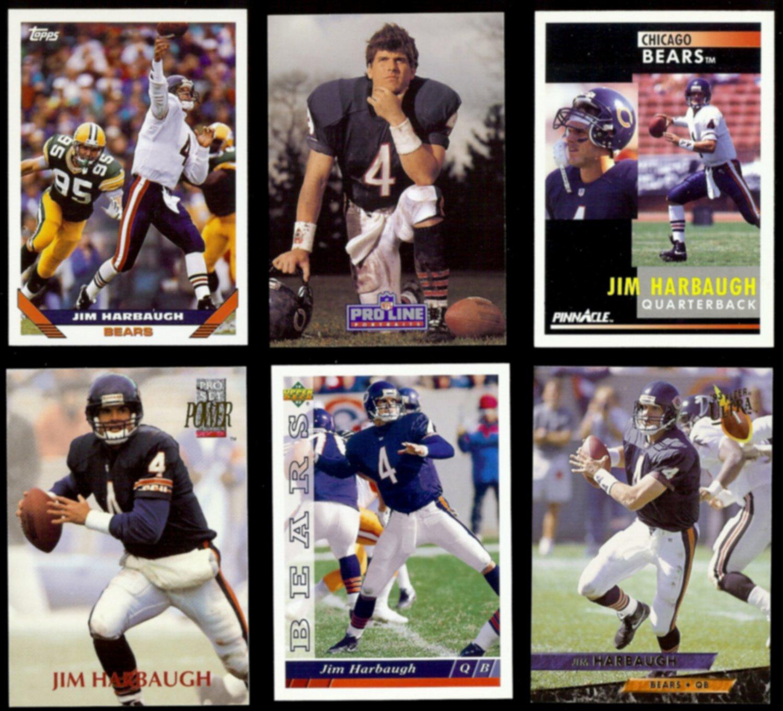 JIM HARBAUGH (6) Card Lot (1991 - 1993).  BEARS