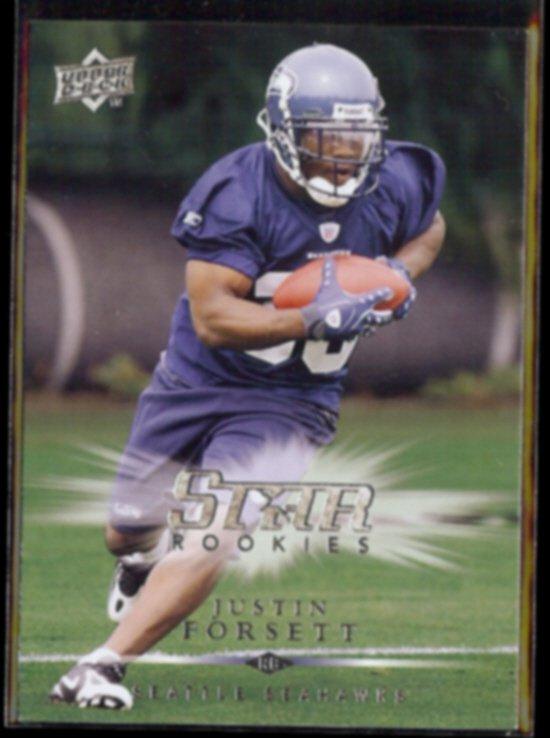 JUSTIN FORSETT 2008 Upper Deck Star Rookies #259.  SEAHAWKS