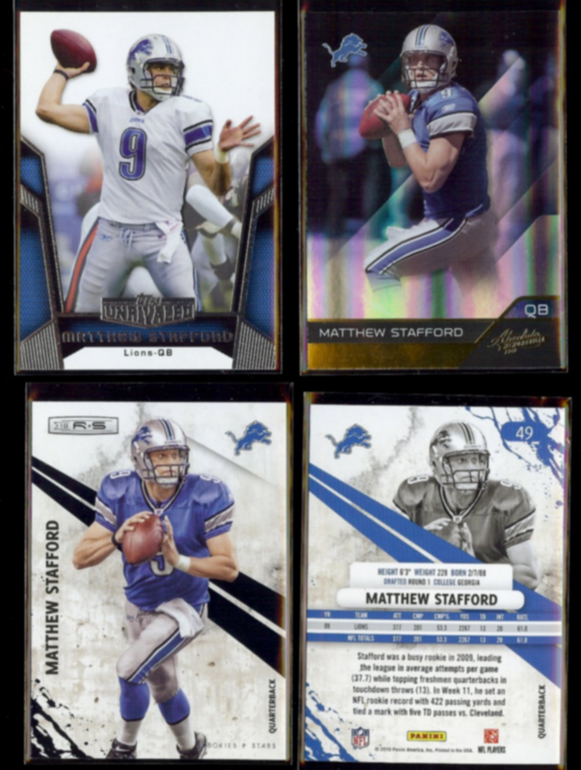 MATTHEW STAFFORD (4) Card Lot (2010 + 2011)  LIONS